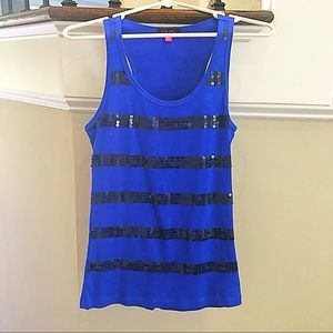 GLO Jeans Blue Racerback Tank w Black Sequins JRXL